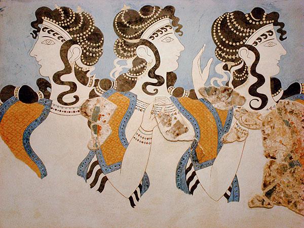 tre donne affresco di Cnosso