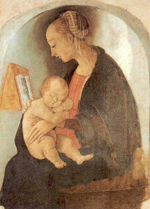 Affresco di Madonna con bambino a Casa Santi, non è sicuro se sia opera di Raffaello molto giovane o di suo padre Giovanni