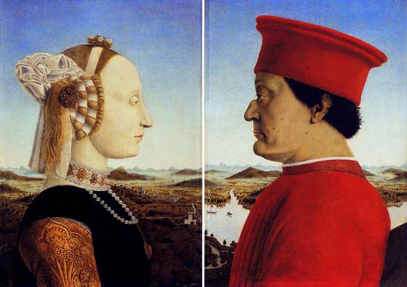 Doppio ritratto di Battista Sforza e di Federico duca di Montefeltro, opera di Piero della Francesca