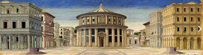 Città ideale di Urbino, opera di un anonimo fiorentino, Galleria Nazionale delle Marche