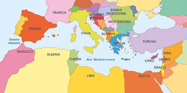 Cartina Geografica Del Mediterraneo.Il Mar Mediterraneo Ieri E Oggi Progetto Ipazia